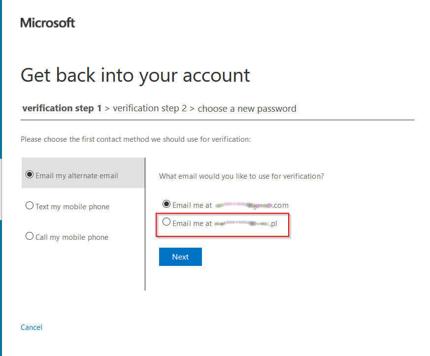Microsoft Online Password Reset